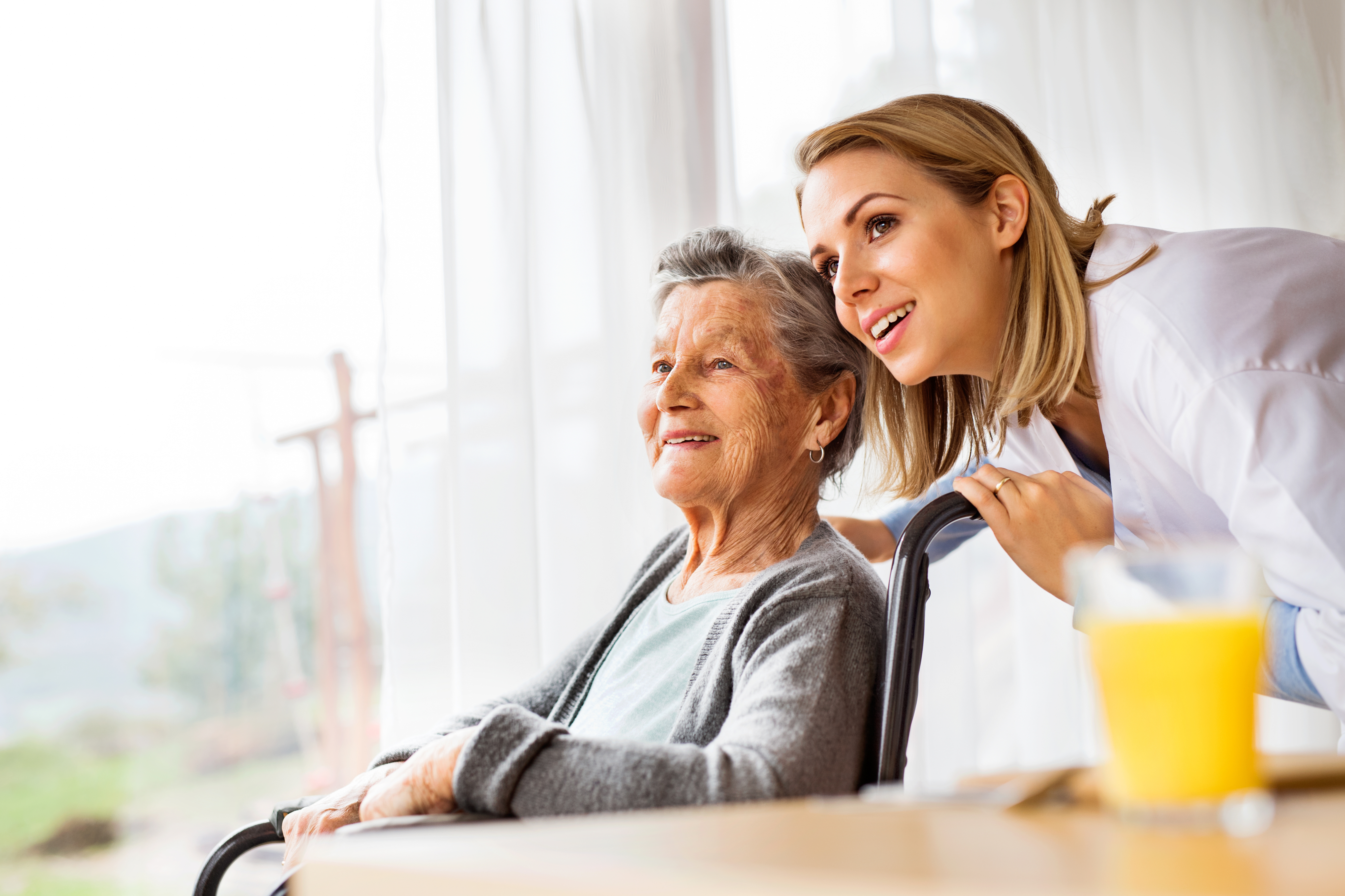 healthcare professional and resident sitting in her wheelchair looking out the window together with smiles on their faces
